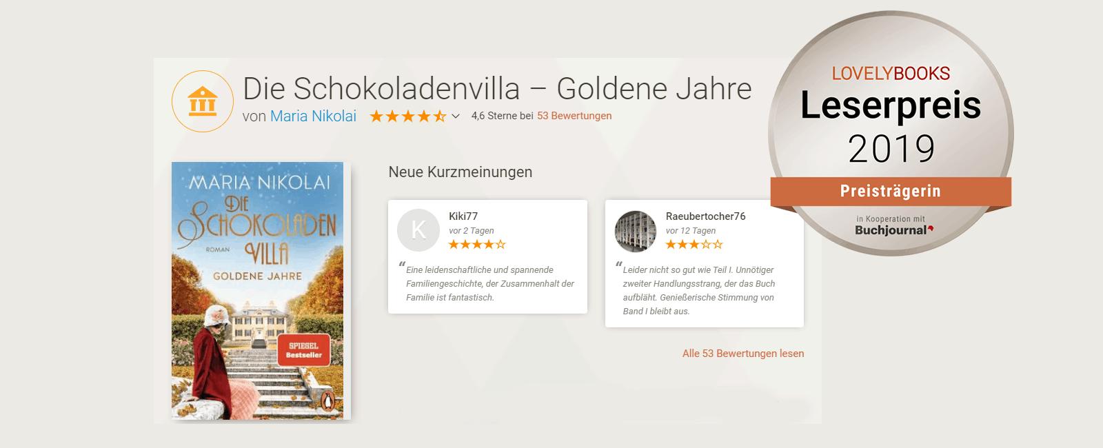 Die Schokoladenvilla Band 2 Goldene Jahre Lovely Books Preisträgerin 2019 Silber